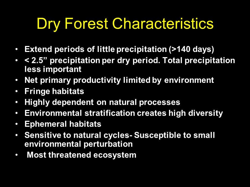 Dry Forest Characteristics Extend periods of little precipitation (>140 days) < 2.5 precipitation per dry period.