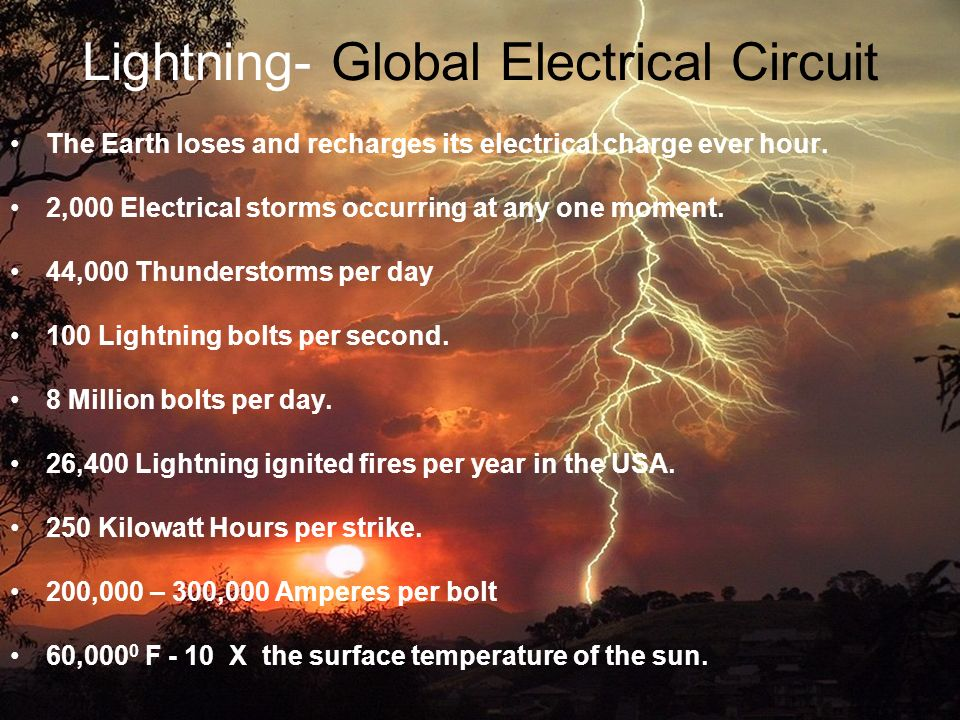 Lightning- Global Electrical Circuit The Earth loses and recharges its electrical charge ever hour.