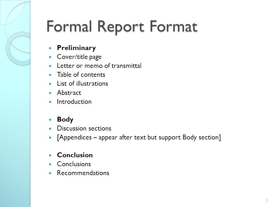 Various Short Note For Student – Layout of a Formal Report