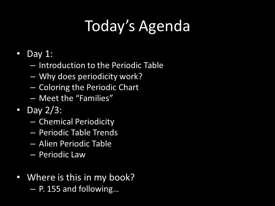Today is monday march 2 nd 2015 pre class get your periodic todays agenda day 1 introduction to the periodic table why does periodicity work urtaz Gallery