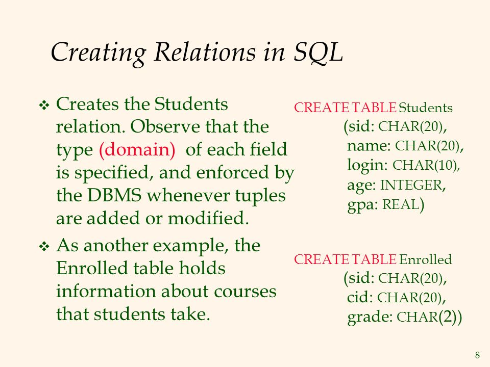 8 Creating Relations in SQL  Creates the Students relation.