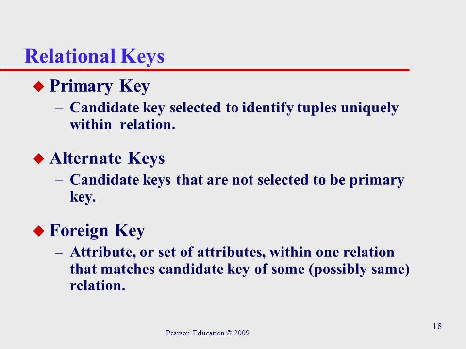18 Relational Keys u Primary Key –Candidate key selected to identify tuples uniquely within relation.