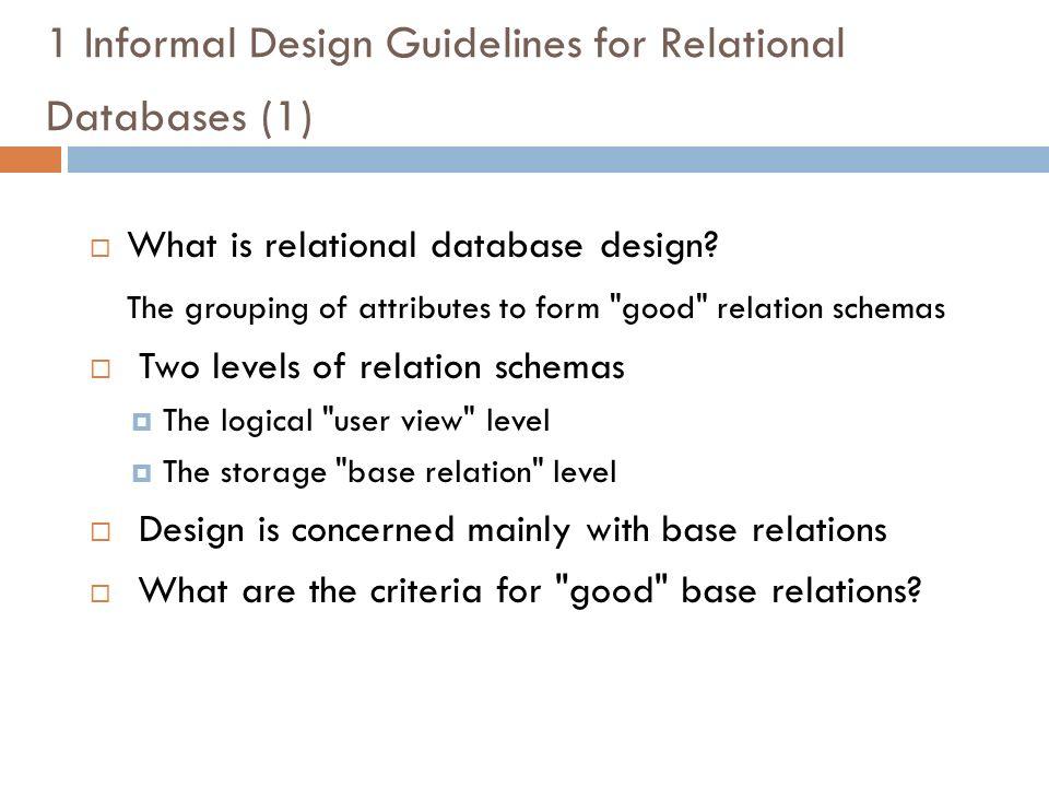 1 informal design guidelines for relational databases 1 what is relational database design - Database Design Guidelines