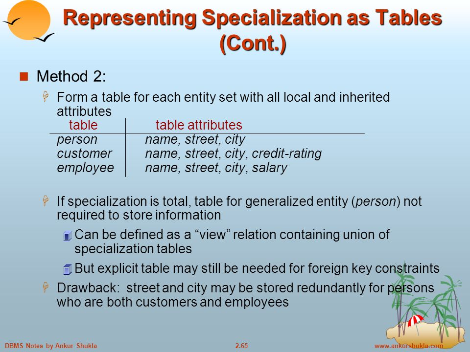 Notes by Ankur Shukla Representing Specialization as Tables (Cont.) Method 2:  Form a table for each entity set with all local and inherited attributes table table attributes personname, street, city customername, street, city, credit-rating employee name, street, city, salary  If specialization is total, table for generalized entity (person) not required to store information  Can be defined as a view relation containing union of specialization tables  But explicit table may still be needed for foreign key constraints  Drawback: street and city may be stored redundantly for persons who are both customers and employees
