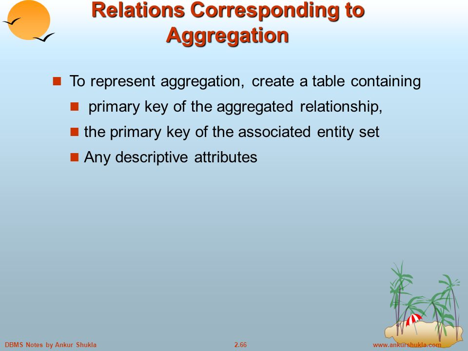 Notes by Ankur Shukla Relations Corresponding to Aggregation To represent aggregation, create a table containing primary key of the aggregated relationship, the primary key of the associated entity set Any descriptive attributes