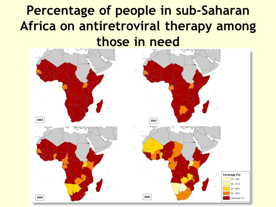 Percentage of people in sub-Saharan Africa on antiretroviral therapy among those in need