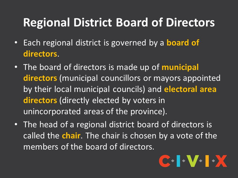 Regional District Board of Directors Each regional district is governed by a board of directors.