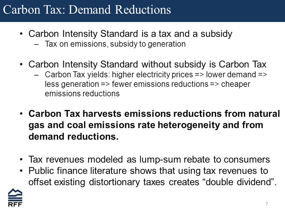 7 Carbon Tax: Demand Reductions Carbon Intensity Standard is a tax and a subsidy –Tax on emissions, subsidy to generation Carbon Intensity Standard without subsidy is Carbon Tax –Carbon Tax yields: higher electricity prices => lower demand => less generation => fewer emissions reductions => cheaper emissions reductions Carbon Tax harvests emissions reductions from natural gas and coal emissions rate heterogeneity and from demand reductions.