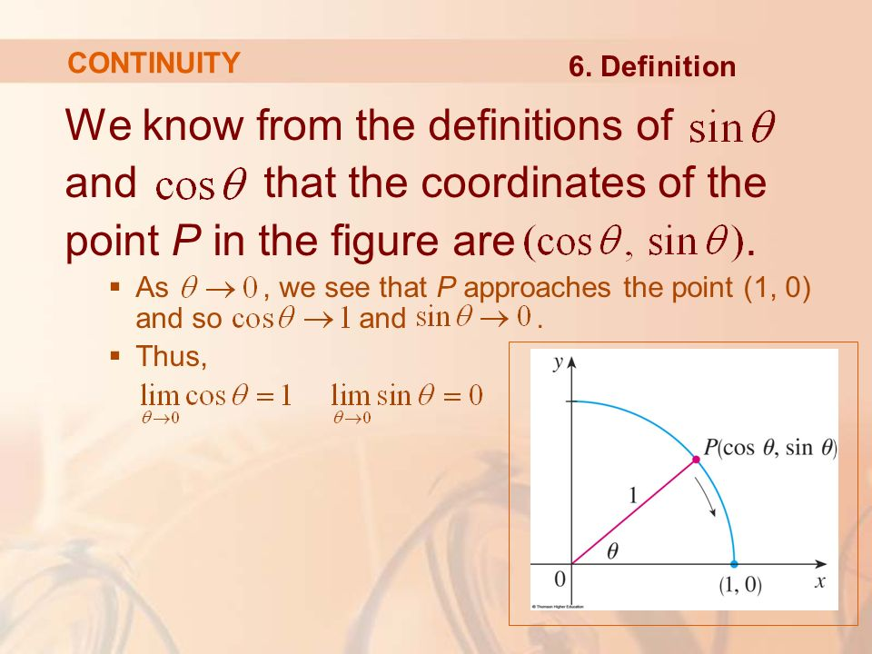 We know from the definitions of and that the coordinates of the point P in the figure are.