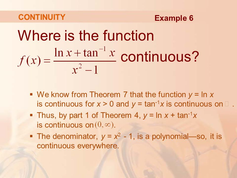 Where is the function continuous.