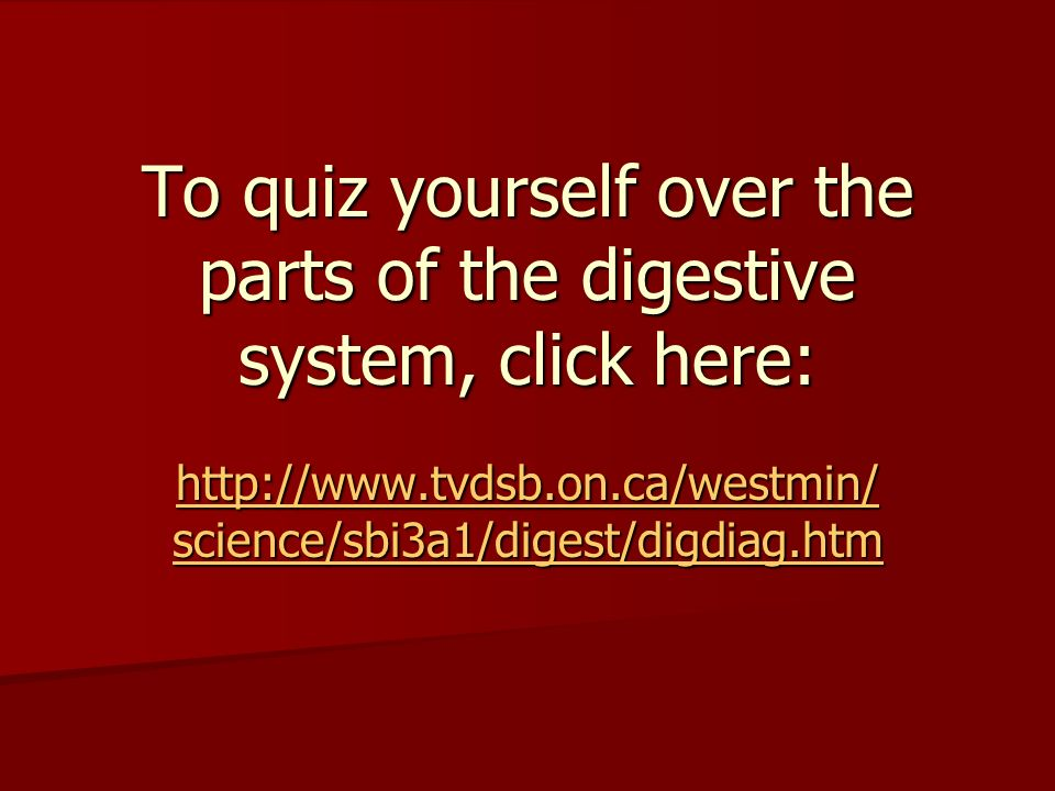 To quiz yourself over the parts of the digestive system, click here:   science/sbi3a1/digest/digdiag.htm   science/sbi3a1/digest/digdiag.htm