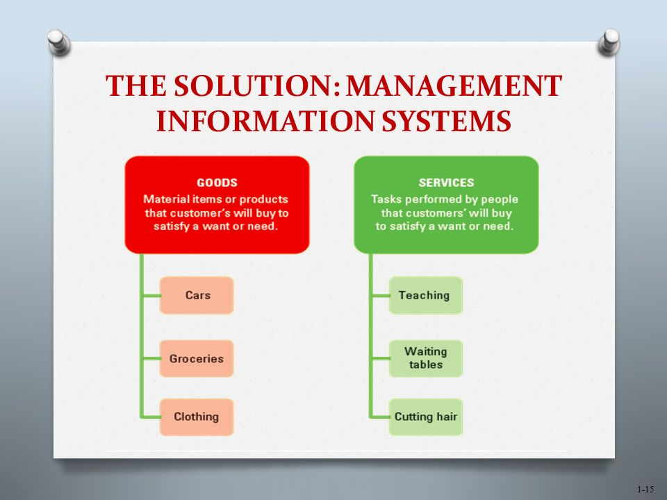 1-15 THE SOLUTION: MANAGEMENT INFORMATION SYSTEMS