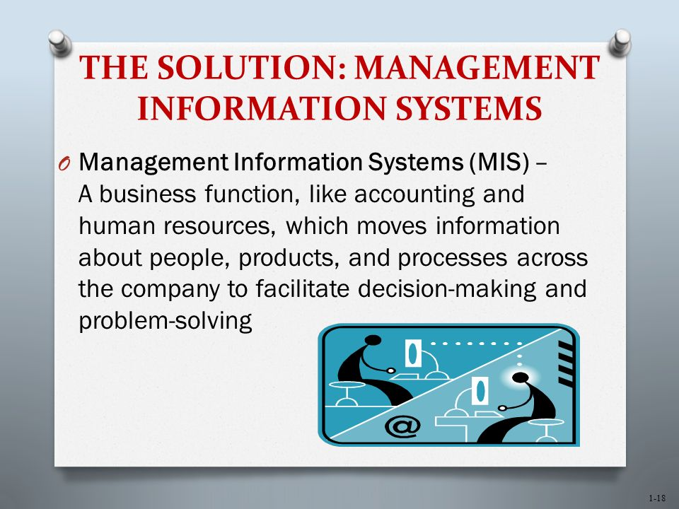 1-18 THE SOLUTION: MANAGEMENT INFORMATION SYSTEMS O Management Information Systems (MIS) – A business function, like accounting and human resources, which moves information about people, products, and processes across the company to facilitate decision-making and problem-solving