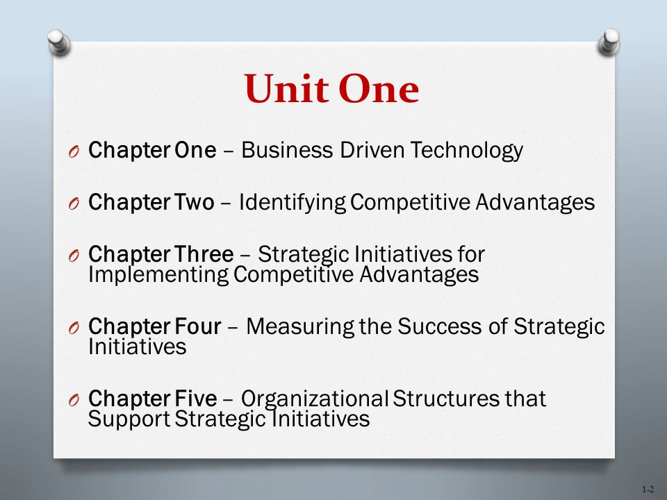 1-2 Unit One O Chapter One – Business Driven Technology O Chapter Two – Identifying Competitive Advantages O Chapter Three – Strategic Initiatives for Implementing Competitive Advantages O Chapter Four – Measuring the Success of Strategic Initiatives O Chapter Five – Organizational Structures that Support Strategic Initiatives