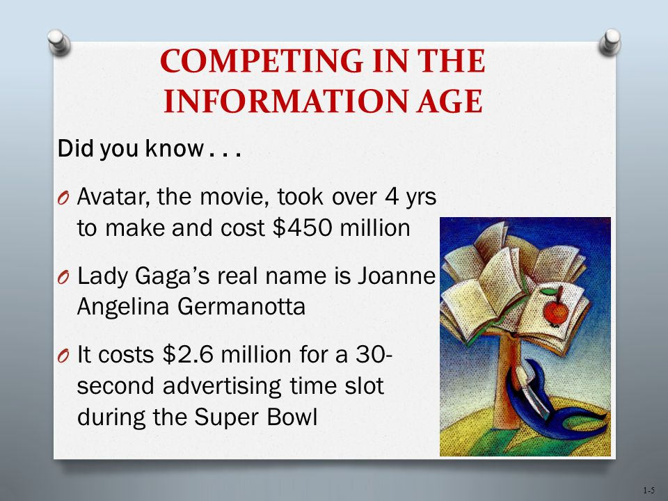 1-6 COMPETING IN THE INFORMATION AGE O Fact - The confirmation or validation of an event or object O Information age - The present time, during which infinite quantities of facts are widely available to anyone who can use a computer