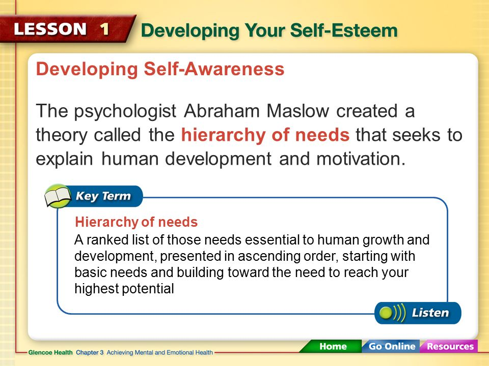 Developing Self-Awareness Understanding your needs and meeting them in healthy ways will help you reach your highest potential. As infants, we rely on