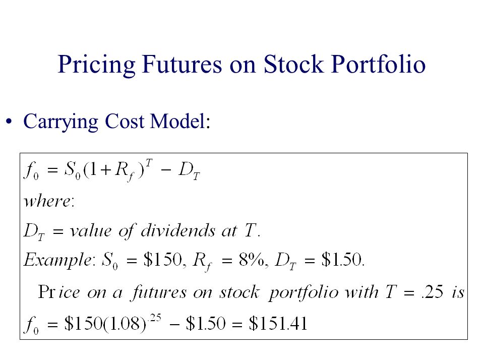 Pricing Futures on Stock Portfolio Carrying Cost Model: