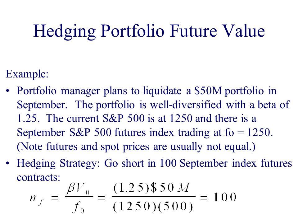 Hedging Portfolio Future Value Example: Portfolio manager plans to liquidate a $50M portfolio in September.