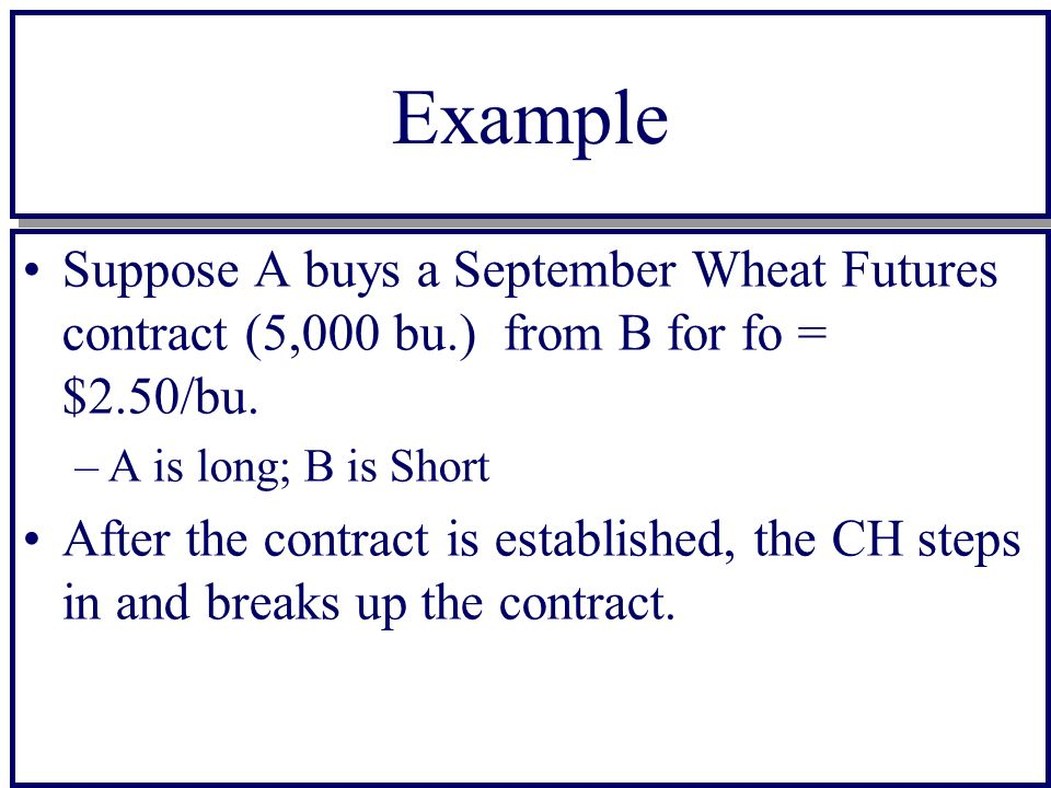 Example Suppose A buys a September Wheat Futures contract (5,000 bu.) from B for fo = $2.50/bu.