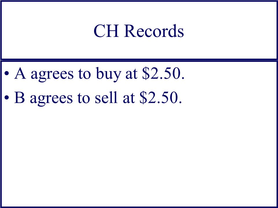 CH Records A agrees to buy at $2.50. B agrees to sell at $2.50.