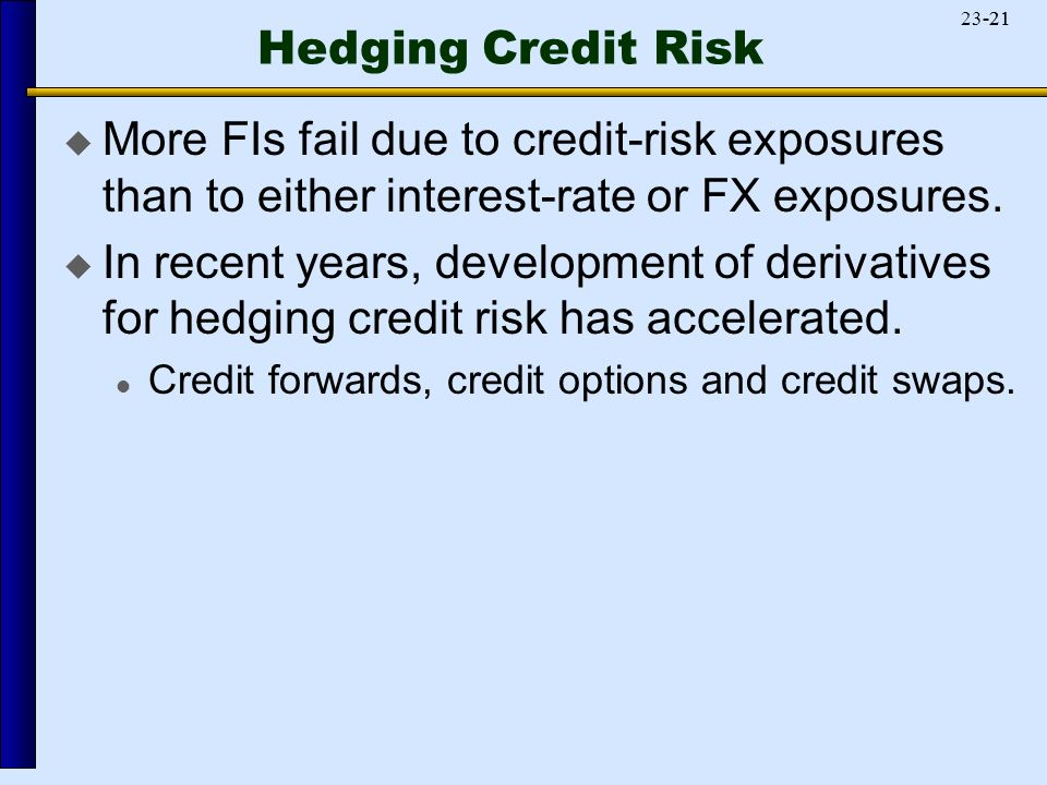 Hedging Credit Risk  More FIs fail due to credit-risk exposures than to either interest-rate or FX exposures.