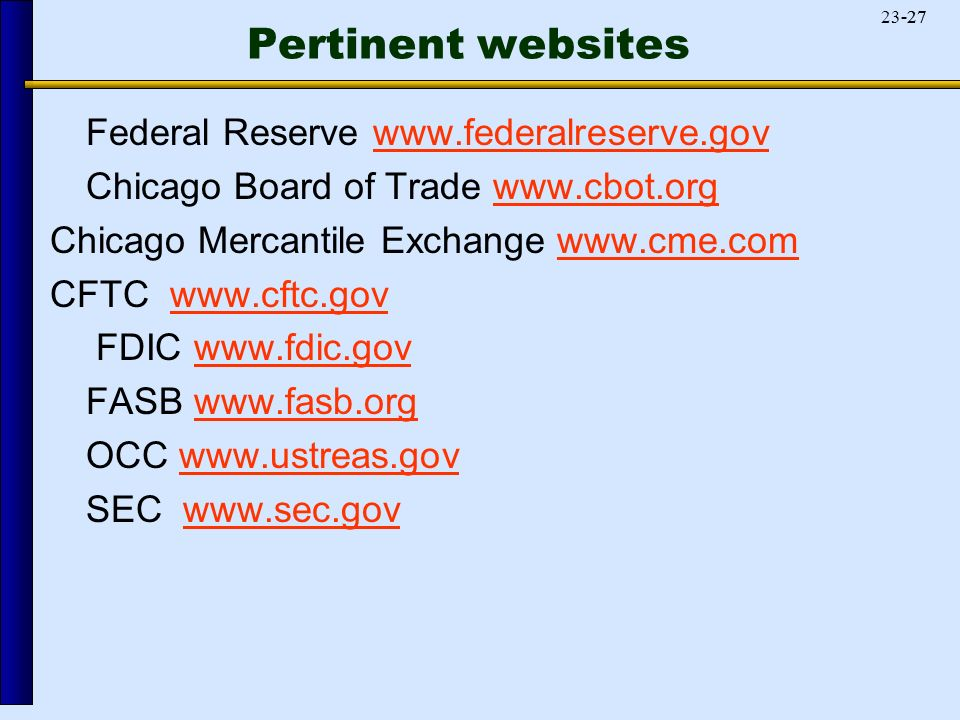 Federal Reserve   Chicago Board of Trade   Chicago Mercantile Exchange   CFTC   FDIC   FASB   OCC   SEC   Pertinent websites