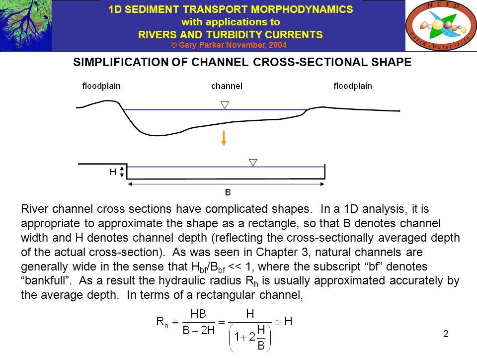 1D SEDIMENT TRANSPORT MORPHODYNAMICS with applications to RIVERS ...