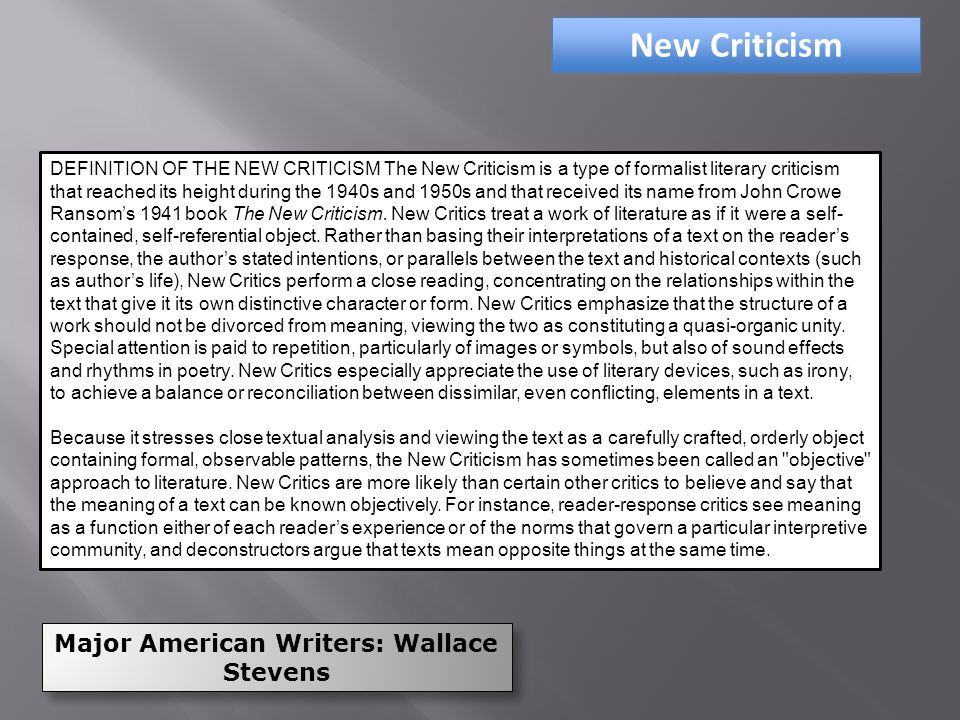 the new criticism and formalist analysis