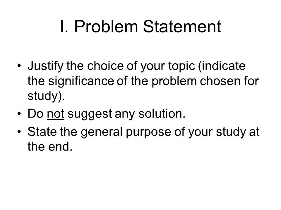 Problem statement research proposal
