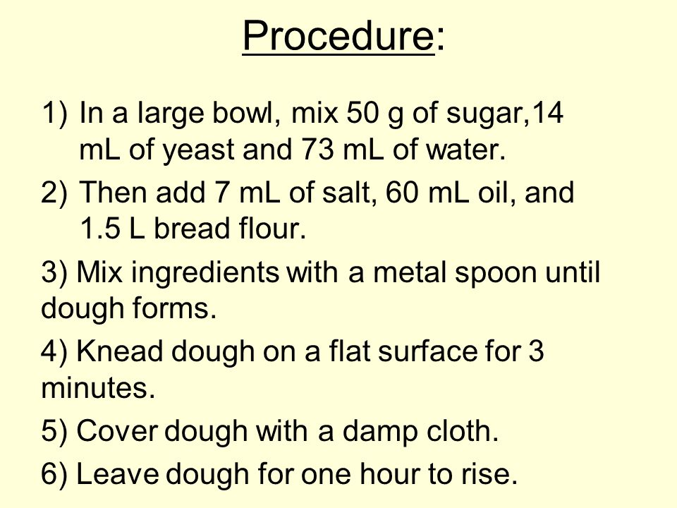 Procedure: 1)In a large bowl, mix 50 g of sugar,14 mL of yeast and 73 mL of water.