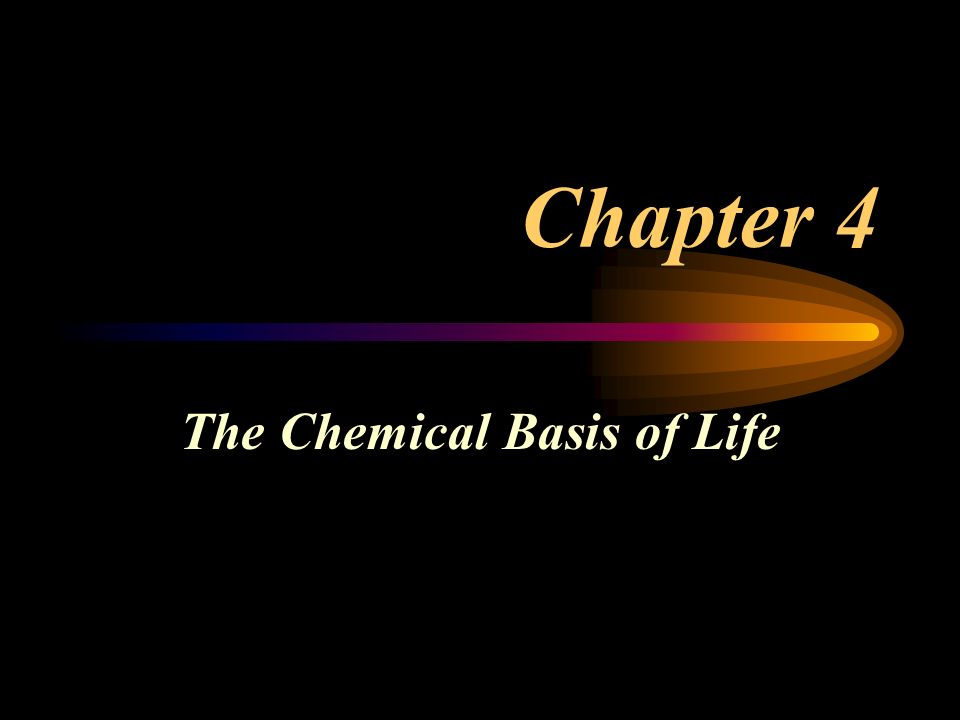 Chapter 4 The Chemical Basis of Life