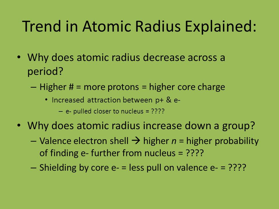 Chapter 8 periodic table of properties review mendeleevs trend in atomic radius explained why does atomic radius decrease across a period urtaz Choice Image