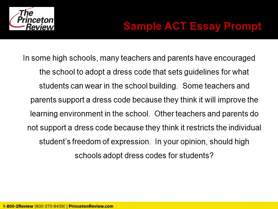 princeton review assessment introductions presenter donevera  sample act essay prompt in some high schools many teachers and parents have encouraged the