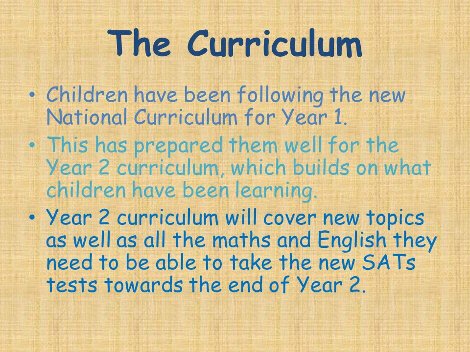 The Curriculum Children have been following the new National Curriculum for Year 1.