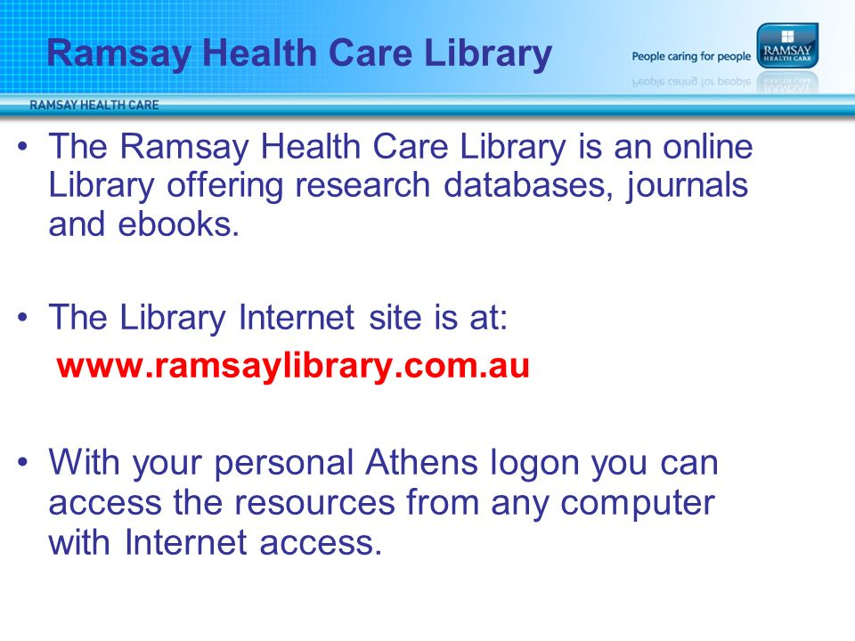 Presentation Title Ramsay Health Care Library. The Ramsay Health ...