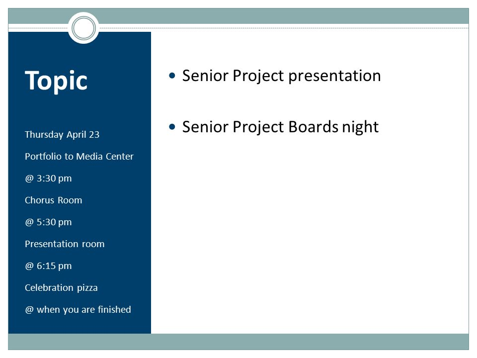 senior project presentation The school of engineering and technology proudly presents the class of 2018 senior design project presentations and demonstrations join us as the class.