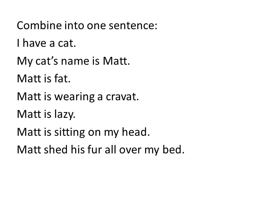 Combine into one sentence: I have a cat. My cat's name is Matt.