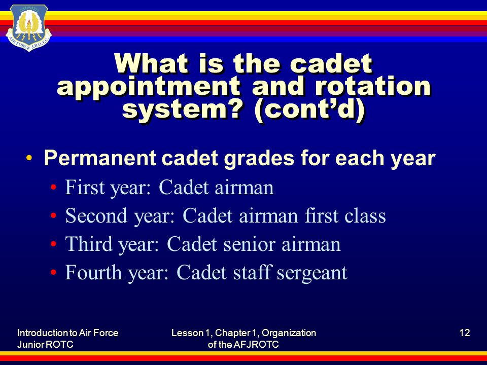 Introduction to Air Force Junior ROTC Lesson 1, Chapter 1, Organization of the AFJROTC 12 What is the cadet appointment and rotation system.