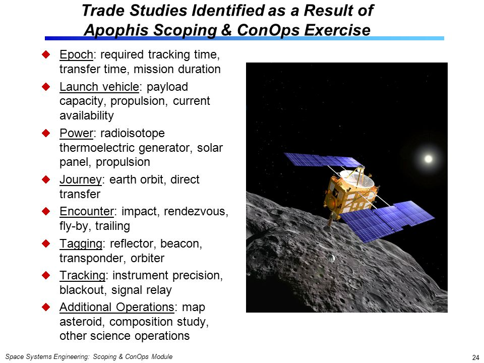 Space Systems Engineering: Scoping & ConOps Module 24 Trade Studies Identified as a Result of Apophis Scoping & ConOps Exercise  Epoch: required tracking time, transfer time, mission duration  Launch vehicle: payload capacity, propulsion, current availability  Power: radioisotope thermoelectric generator, solar panel, propulsion  Journey: earth orbit, direct transfer  Encounter: impact, rendezvous, fly-by, trailing  Tagging: reflector, beacon, transponder, orbiter  Tracking: instrument precision, blackout, signal relay  Additional Operations: map asteroid, composition study, other science operations