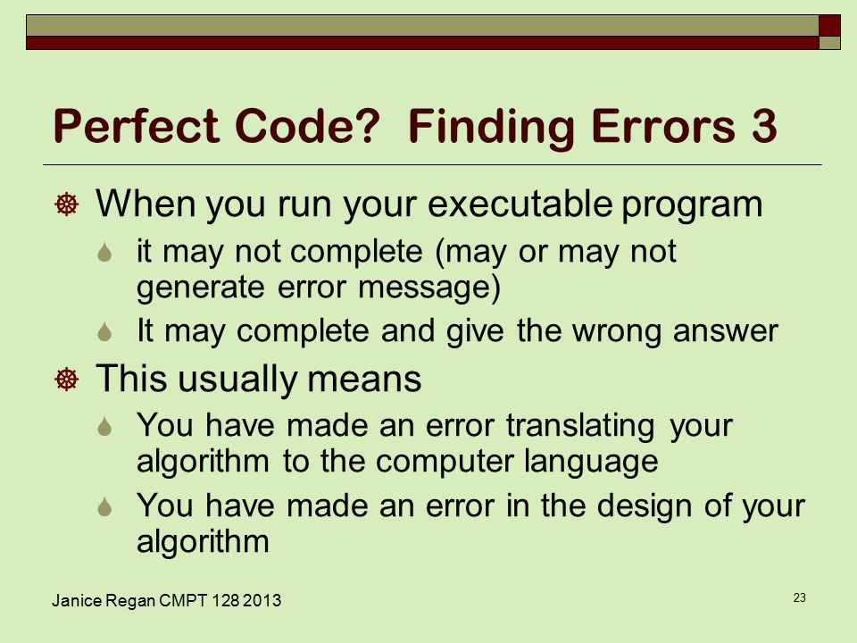 Janice Regan CMPT Perfect Code.