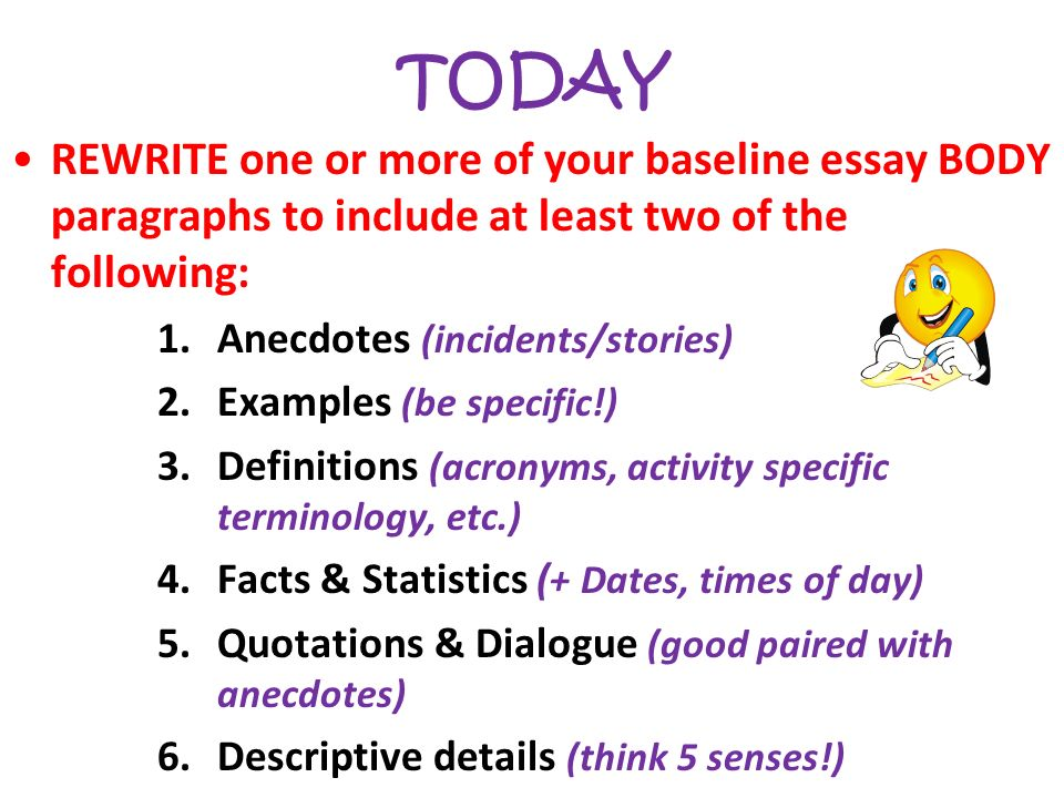 anecdotal essay Although the concept of an anecdotal essay sounds simple enough--you are, after all simply telling a story--writing one can be quite challenging as with any other type of writing assignment, the essay should capture and hold your reader's interest fortunately, if you take time to structure the.