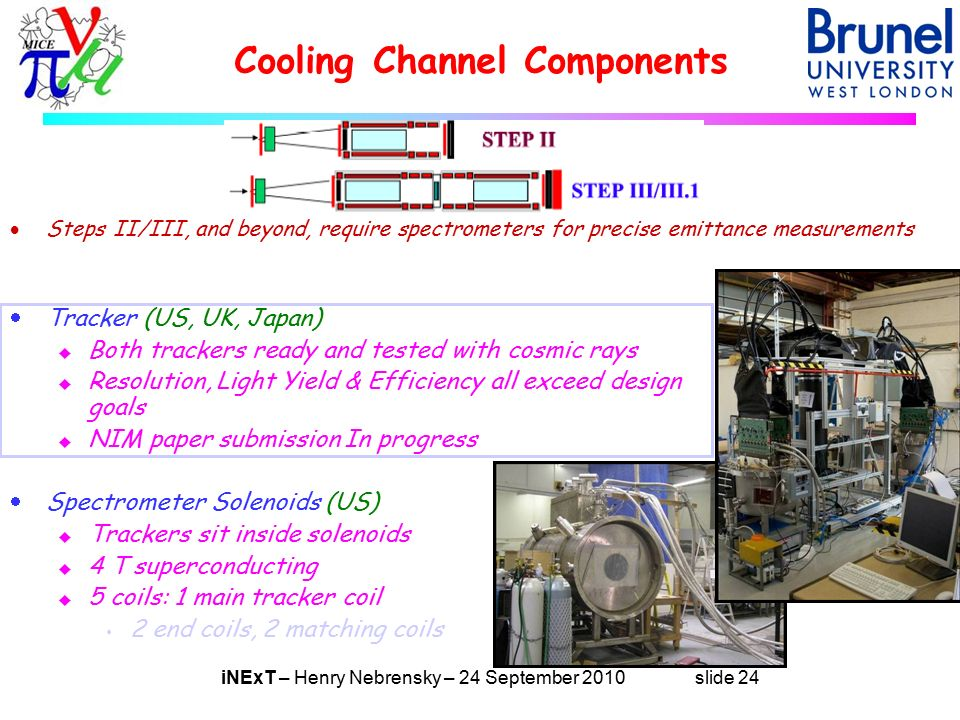 iNExT – Henry Nebrensky – 24 September 2010 slide 24 Cooling Channel Components  Tracker (US, UK, Japan) u Both trackers ready and tested with cosmic rays u Resolution, Light Yield & Efficiency all exceed design goals u NIM paper submission In progress  Spectrometer Solenoids (US) u Trackers sit inside solenoids u 4 T superconducting u 5 coils: 1 main tracker coil s 2 end coils, 2 matching coils  Steps II/III, and beyond, require spectrometers for precise emittance measurements
