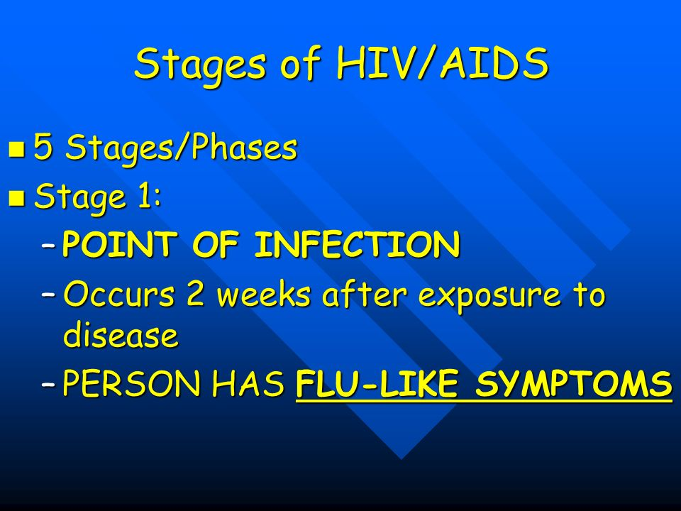 Stages of HIV/AIDS 5 Stages/Phases 5 Stages/Phases Stage 1: Stage 1: –POINT OF INFECTION –Occurs 2 weeks after exposure to disease –PERSON HAS FLU-LIKE SYMPTOMS