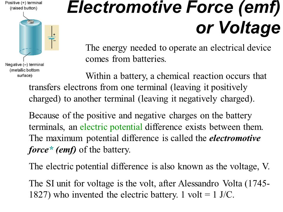 Electromotive Force (emf) or Voltage The energy needed to operate an electrical device comes from batteries.