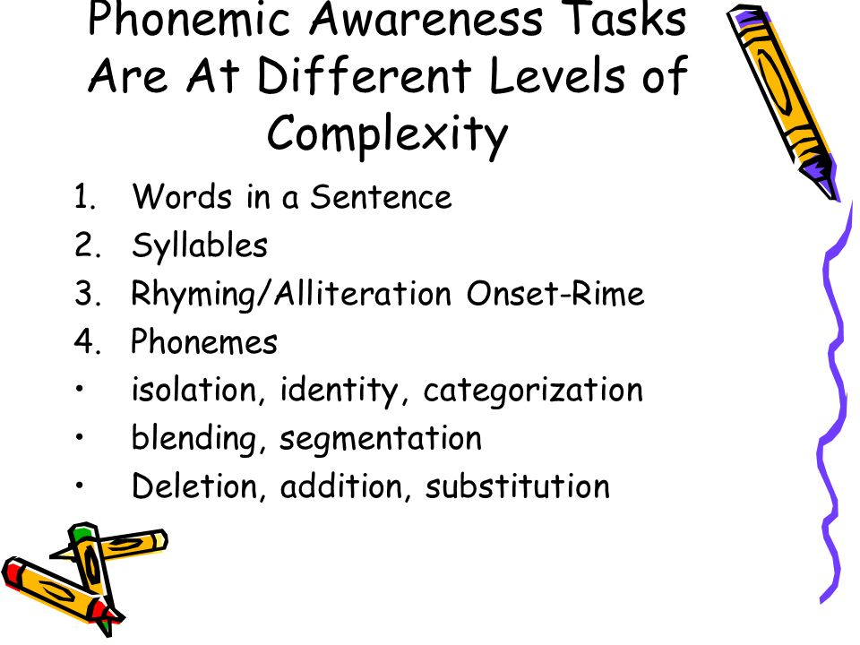 Phonemic Awareness Tasks Are At Different Levels of Complexity 1.Words in a Sentence 2.Syllables 3.Rhyming/Alliteration Onset-Rime 4.Phonemes isolation, identity, categorization blending, segmentation Deletion, addition, substitution