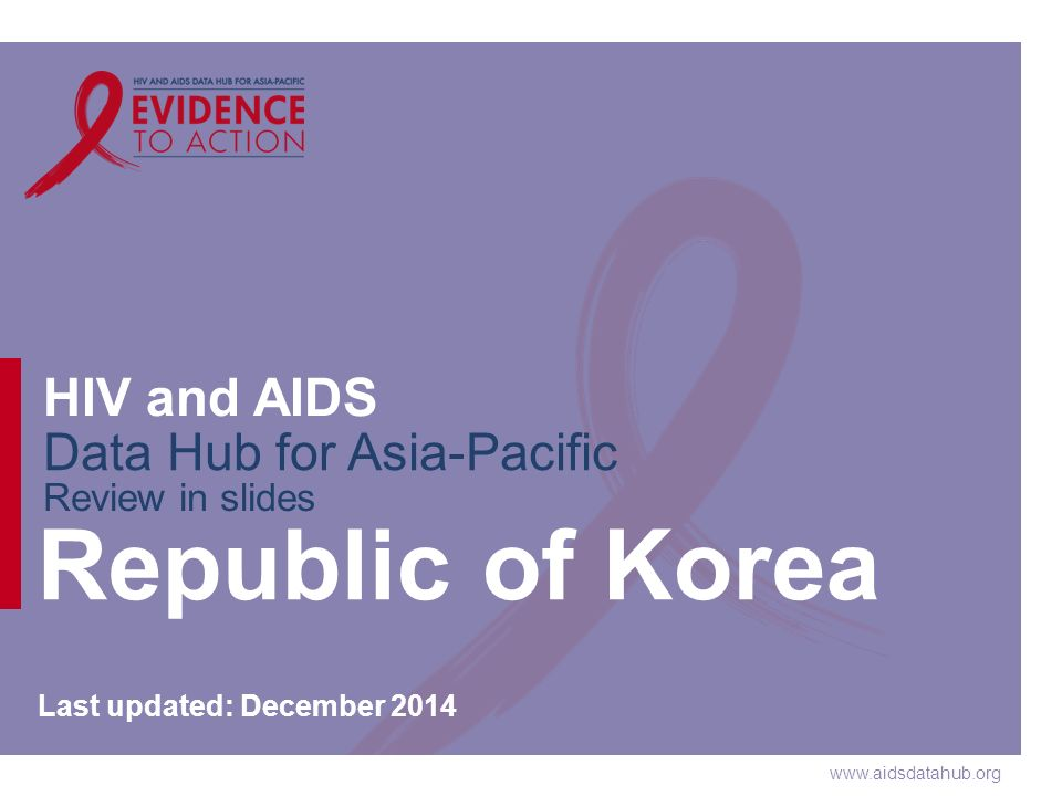 www.aidsdatahub.org HIV and AIDS Data Hub for Asia-Pacific Review in slides Republic of Korea Last updated: December 2014