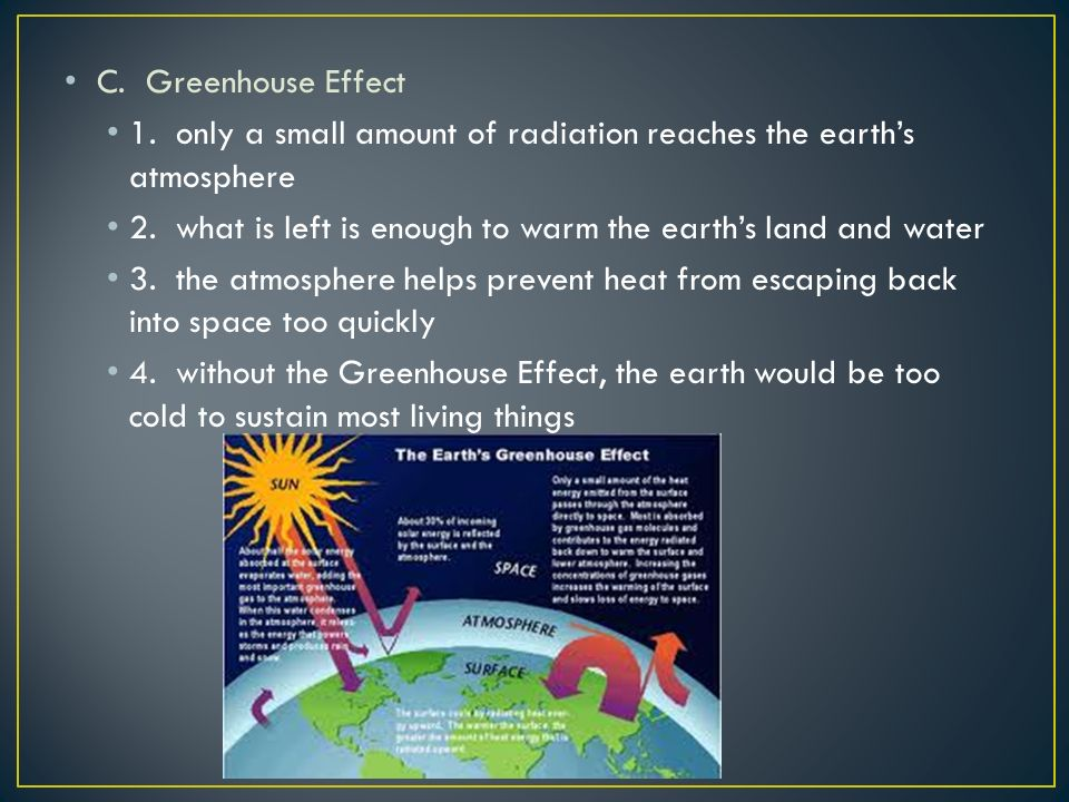 C. Greenhouse Effect 1. only a small amount of radiation reaches the earth's atmosphere 2.