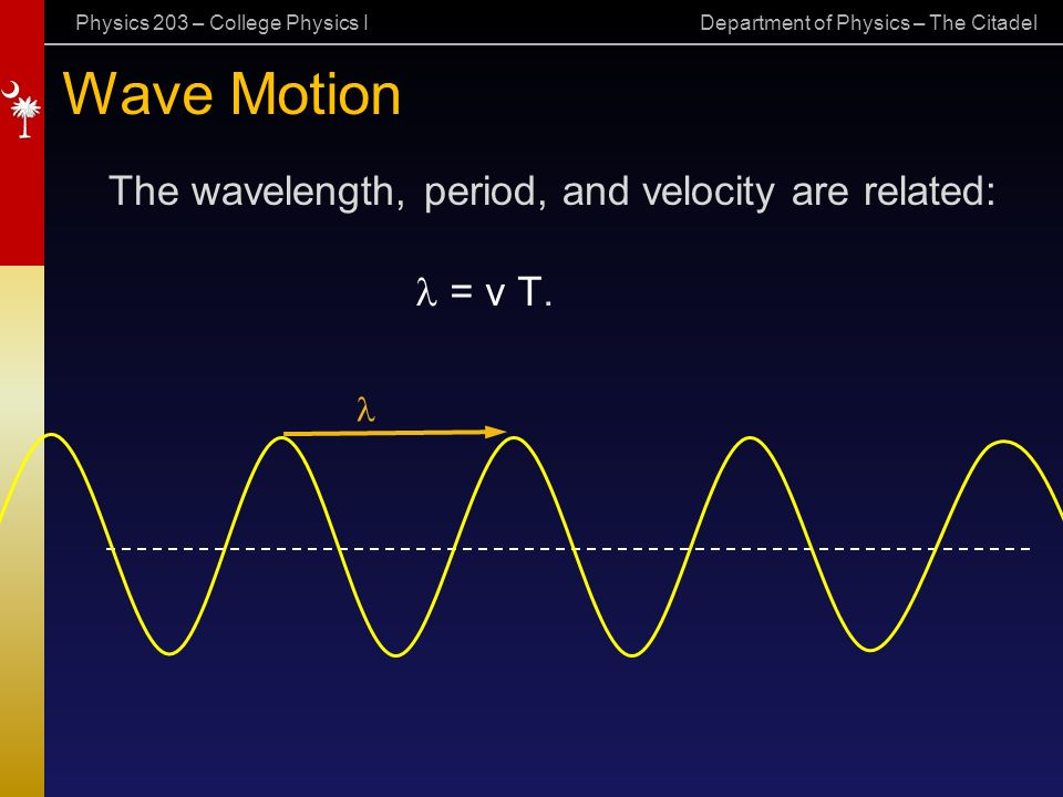 Physics 203 – College Physics I Department of Physics – The Citadel Wave Motion = v T.