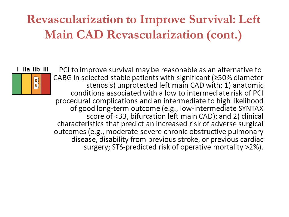 PCI to improve survival may be reasonable as an alternative to CABG in selected stable patients with significant (≥50% diameter stenosis) unprotected left main CAD with: 1) anatomic conditions associated with a low to intermediate risk of PCI procedural complications and an intermediate to high likelihood of good long-term outcome (e.g., low-intermediate SYNTAX score of 2%).