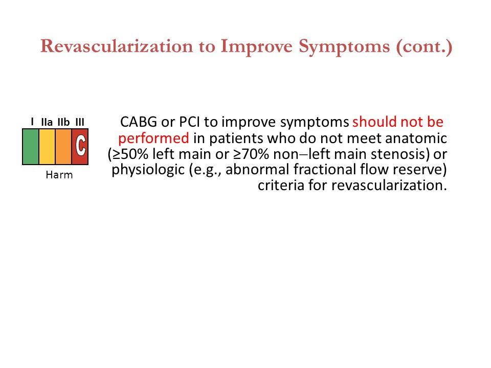 CABG or PCI to improve symptoms should not be performed in patients who do not meet anatomic (≥50% left main or ≥70% non  left main stenosis) or physiologic (e.g., abnormal fractional flow reserve) criteria for revascularization.